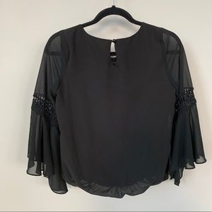 BCX Black Flowy Sleeves Top Size S 🌼